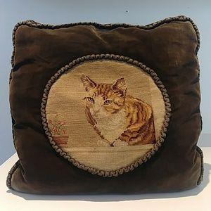 Antique green / brown velvet crewel cat pillow